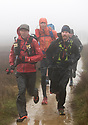 13/01/19<br /> <br /> Battered by driving rain and gale force winds,<br /> competitors, known as 'Spiners', cross over the Derbyshire Peak District near Glossop. The one hundred runners are just two hours into a week-long gruelling event that will see them run and walk the entire length of the Pennine Way into Scotland. The race started in Edale Derbyshire, at 8am and will finish next Sunday morning, 268 miles later in Kirk Yetholm. <br /> <br /> The Montane Spine Race is widely regarded as one of the world's toughest endurance races. A truly epic challenge that will test physical resilience and mental fortitude. Racing non-stop along the most iconic trail in the UK, competitors will experience the full intensity and ferocity of the British Winter.<br /> <br /> <br /> All Rights Reserved, F Stop Press Ltd. (0)1335 344240 +44 (0)7765 242650  www.fstoppress.com rod@fstoppress.com