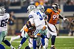 Dallas Cowboys quarterback Brandon Weeden (3) and Denver Broncos defensive end Quanterus Smith (93) in action during the pre-season game between the Denver Broncos and the Dallas Cowboys at the AT & T stadium in Arlington, Texas. Denver leads Dallas 10 to 3 at halftime.