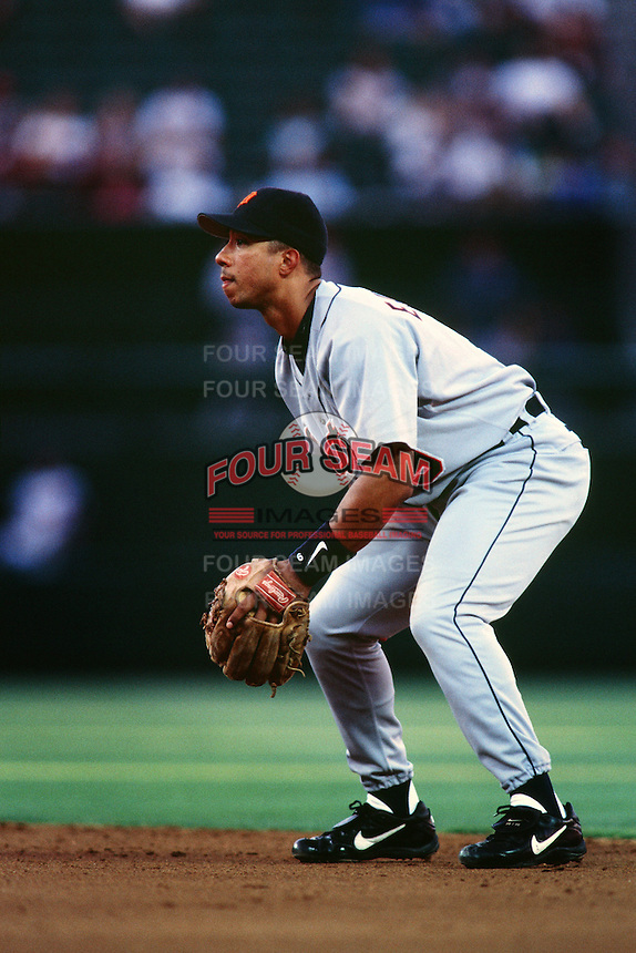 Damion Easley of the Detroit Tigers during a game against the Anaheim Angels at Angel Stadium circa 1999 in Anaheim, California. (Larry Goren/Four Seam Images)