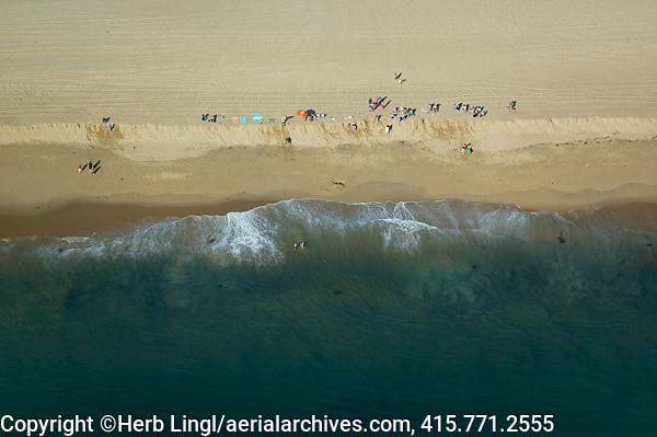 aerial photograph of families at Pismo Beach, Pacific, San Luis Obispo County, California