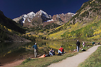Maroon Bells and Maroon lake with fall colors, Aspen, White River National Forest, Colorado, USA, September 2007
