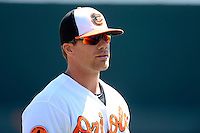 Baltimore Orioles first baseman Chris Davis #19 before a Spring Training game against the Toronto Blue Jays at Ed Smith Stadium on March 7, 2013 in Sarasota, Florida.  Balitmore defeated Toronto 11-10.  (Mike Janes/Four Seam Images)