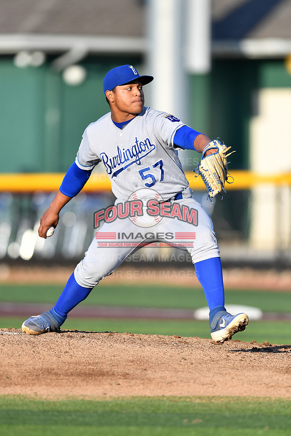 Burlington Royals starting pitcher Heribert Garcia (57) delivers a pitch during game one of the Appalachian League Championship Series against the Johnson City Cardinals at TVA Credit Union Ballpark on September 2, 2019 in Johnson City, Tennessee. The Royals defeated the Cardinals 9-2 to take the series lead 1-0. (Tony Farlow/Four Seam Images)