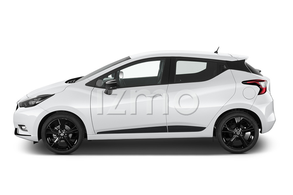 Car Driver side profile view of a 2021 Nissan Micra N-Sport 5 Door Hatchback Side View
