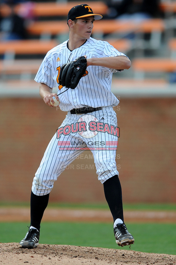 Tennessee Volunteers pitcher Eric Martin #45 delivers a pitch during a game against  the Arizona State Sun Devils at Lindsey Nelson Stadium on February 23, 2013 in Knoxville, Tennessee. The Volunteers won 11-2.(Tony Farlow/Four Seam Images).