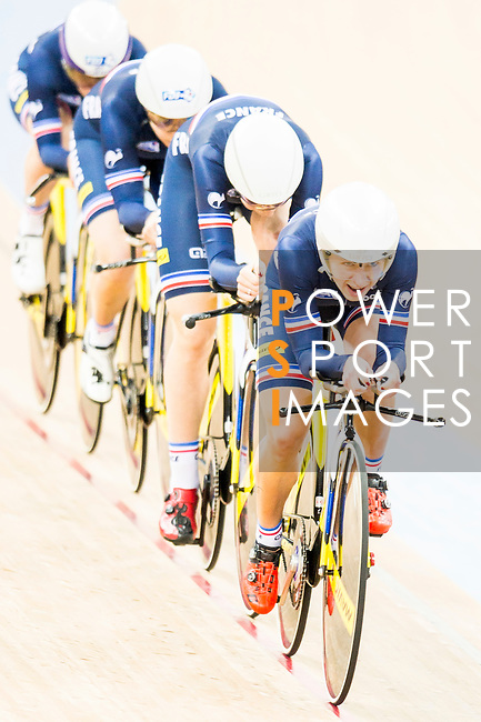 The team of France with Elise Delzenne, Laurie Berthon, Marion Borras and Coraline Demay competes in the Women's Team Pursuit - 1st Round as part of the 2017 UCI Track Cycling World Championships on 13 April 2017, in Hong Kong Velodrome, Hong Kong, China. Photo by Marcio Rodrigo Machado / Power Sport Images