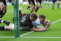 Chris Ashtonof England scores a dramatic try during the Quilter International match between England and New Zealand at Twickenham Stadium on Saturday 10th November 2018 (Photo by Rob Munro/Stewart Communications)