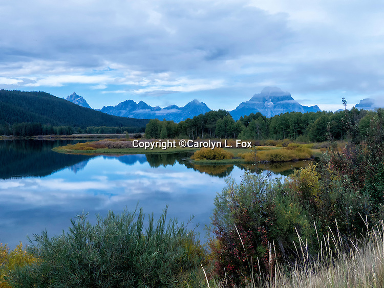 Mount Moran can be seen in the distance at Oxbow Bend in Grand Teton National Park in Wyoming.