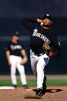 Jose Paniagua of the Seattle Mariners during a game against the Anaheim Angels at Angel Stadium circa 1999 in Anaheim, California. (Larry Goren/Four Seam Images)