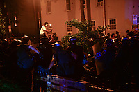 Washington, DC - June 1, 2020: DC Metropolitan Police approach protesters gathered at 15th & Swann St. NW, Washington, DC  June 1, 2020, in the wake of the death of George Floyd by a Minnesota police officer.  (Photo by Don Baxter/Media Images International)