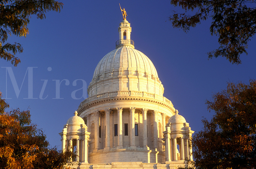 State Capitol, Providence, State House, Rhode Island, RI, The Dome of the Rhode Island State House in the Capital City of Providence in the autumn.