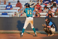 Max LeCroy (12) (Lenoir Rhyne) of the Mooresville Spinners at bat against the Dry Pond Blue Sox at Moor Park on July 2, 2020 in Mooresville, NC.  The Spinners defeated the Blue Sox 9-4. (Brian Westerholt/Four Seam Images)