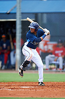 GCL Rays shortstop Luis Leon (1) at bat during the first game of a doubleheader against the GCL Twins on July 18, 2017 at Charlotte Sports Park in Port Charlotte, Florida.  GCL Twins defeated the GCL Rays 11-5 in a continuation of a game that was suspended on July 17th at CenturyLink Sports Complex in Fort Myers, Florida due to inclement weather.  (Mike Janes/Four Seam Images)