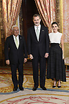 King Felipe VI of Spain (C) and Queen Letizia of Spain (R) receive Prime Minister of Portugal Antonio Costa (L) because of the United Nations conference for the Climate Summit 2019 (COP25) at the Royal Palace. December 2,2019. (ALTERPHOTOS/Pool/Carlos Alvarez)