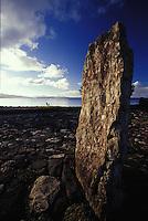 Ancient altar stone at Taputapuatea 'marae' temple, Raiatea, French Polynesia