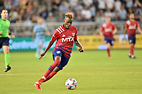 KANSAS CITY, KS - JULY 31: Jader Obrian #7 FC Dallas with the ball during a game between FC Dallas and Sporting Kansas City at Children's Mercy Stadium on July 31, 2021 in Kansas City, Kansas.