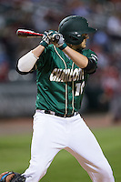 Zach Jarrett (10) of the Charlotte 49ers at bat against the North Carolina State Wolfpack at BB&T Ballpark on March 31, 2015 in Charlotte, North Carolina.  The Wolfpack defeated the 49ers 10-6.  (Brian Westerholt/Four Seam Images)