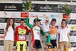 Pablo Urtasun (Euskaltel Euskadi team) wins the first stage of the Castilla and Leon 2013 Cycling Tour. Podium with Pablo Urtasun (Euskaltel Euskadi team), Francesco Lasca (Caja Rural) and Enrique Sanz (Movistar Team)The first stage of the 28th tour took place from Arevalo (Avila) to Valladolid. April 12, 2013. Valladolid, Spain. (Alterphotos/Victor J Blanco)