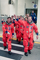 """Crew walkout, Space Shuttle  Atlantis, STS 101Mission, May 2000, Kennedy Space Center, Titusville, FL.  Crew:  Commander James D. Halsell Jr., Pilot Scott J. """"Doc"""" Horowitz, Mission Specialists Mary Ellen Weber, Jeffrey N. Williams, James S. Voss, Susan J. Helms and Yury Vladimirovich Usachev.  (Photo by Brian Cleary/bcpix.com)"""