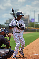 GCL Yankees West shortstop Brayan Jimenez (17) at bat during the second game of a doubleheader against the GCL Yankees East on July 19, 2017 at the Yankees Minor League Complex in Tampa, Florida.  GCL Yankees West defeated the GCL Yankees East 3-1.  (Mike Janes/Four Seam Images)