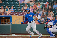Destin Hood (14) of the Round Rock Express bats against the Omaha Storm Chasers at Werner Park on May 27, 2018 in Papillion , Nebraska. Round Rock defeated Omaha 8-3. (Stephen Smith/Four Seam Images)