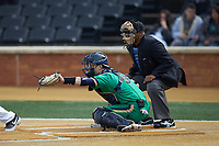 Notre Dame Fighting Irish catcher David LaManna (3) reaches for a pitch as home plate umpire Gregory Street looks on during the game against the Wake Forest Demon Deacons at David F. Couch Ballpark on March 10, 2019 in  Winston-Salem, North Carolina. The Demon Deacons defeated the Fighting Irish 7-4 in game one of a double-header.  (Brian Westerholt/Four Seam Images)