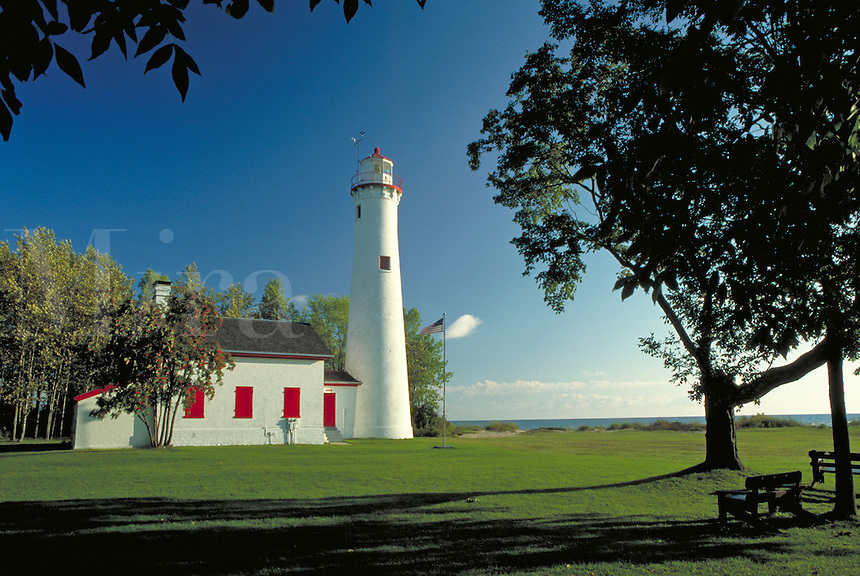 one of several lighthouses on the Lake Huron shore that operates as a museum, scenic coastal landscape. Sturgeon Point Michigan USA.