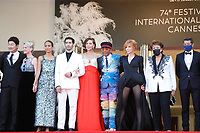 """CANNES, FRANCE - JULY 17:  Jury members :  Song Kang-Ho, Mélanie Laurent, Mati Diop, Tahar Rahim, Maggie Gyllenhaal, Jury president and Director Spike Lee, Mylène Farmer, French minister of culture Roselyne Bachelot at the final screening of """"OSS 117: From Africa With Love"""" and closing ceremony during the 74th annual Cannes Film Festival on July 17, 2021 in Cannes, France. <br /> CAP/GOL<br /> ©GOL/Capital Pictures"""