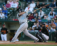 2007:  Sal Fasano of the Syracuse Chiefs follows through during an at bat vs. the Rochester Red Wings in International League baseball action.  Photo By Mike Janes/Four Seam Images