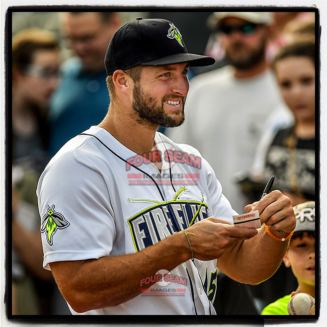 #OTD On This Day, April 22, 2017, designated hitter Tim Tebow (15) of the Columbia Fireflies signed autographs before a game at Spirit Communications Park in Columbia, South Carolina. Tebow went 0-3 as the Fireflies lost to Lexington, 4-0. (Tom Priddy/Four Seam Images) #MiLB #OnThisDay #MissingBaseball