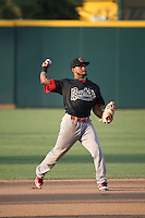 Robelys Reyes (1) of the Visalia Rawhide makes a throw during a game against the Inland Empire 66ers at San Manuel Stadium on June 26, 2016 in San Bernardino, California. Inland Empire defeated Visalia, 5-1. (Larry Goren/Four Seam Images)