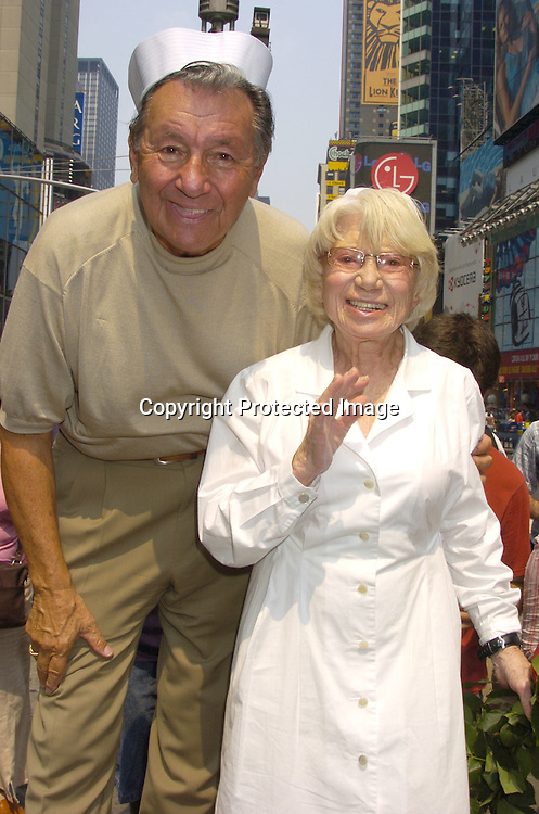 Carl Muscarello and Edith Shain ..at the 60th Anniversary of the end of World War II in Times Square in New York City on August 14, 2005. Edith and Carl  were the couple in the Alfred Eisenstadt photograph celebrating the Allied Victory in the War. ..Photo by Robin Platzer, Twin Images