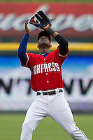 Round Rock Express second baseman Jurickson Profar #10 catches a pop fly against the Omaha Storm Chasers in the Pacific Coast League baseball game on April 7, 2013 at the Dell Diamond in Round Rock, Texas. Omaha beat Round Rock 5-2, handing the Express their first loss of the season. (Andrew Woolley/Four Seam Images).
