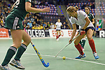 Berlin, Germany, February 01: Darja Moellenberg #11 of Duesseldorfer HC in action during the 1. Bundesliga Damen Hallensaison 2014/15 final hockey match between Duesseldorfer HC (white) and HTC Uhlenhorst Muehlheim (green) on February 1, 2015 at the Final Four tournament at Max-Schmeling-Halle in Berlin, Germany. Final score 4-1 (1-0). (Photo by Dirk Markgraf / www.265-images.com) *** Local caption ***