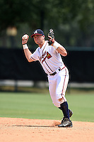 GCL Braves second baseman Luke Dykstra (5) throws to first during a game against the GCL Blue Jays on June 27, 2014 at ESPN Wide World of Sports in Orlando, Florida.  GCL Braves defeated GCL Blue Jays 10-9.  (Mike Janes/Four Seam Images)