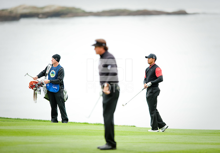 PEBBLE BEACH, CA--Tiger Woods competes in the final round of the AT&T Pebble Beach National Pro-Am Golf Championship at Pebble Beach Golf Links in Pebble Beach, CA on Sunday, February 12, 2012. Woods finished T15 in his first PGA Tour tournament of 2012.