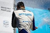 #10: Alex Palou, Chip Ganassi Racing Honda celebrates winning the Grand Prix of Portland, champagne