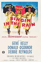 Prod DB © MGM / DR<br /> CHANTONS SOUS LA PLUIE (SINGIN' IN THE RAIN) de Stanley Donen et Gene Kelly 1954 USA<br /> affiche originale US one-sheet<br /> Debbie Reynolds, Cyd Charisse et Gene Kelly<br /> parapluie, intemperie<br /> classique comedie musicale