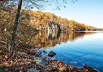 Canopus Lake, seen from the water's edge in autumn. Located along the Appalachian Trail in Clarence Fahnestock State Park, northern Putnam County, New York.