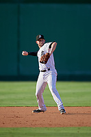 Jackson Generals third baseman Drew Ellis (29) throws to first base during a Southern League game against the Mississippi Braves on July 23, 2019 at The Ballpark at Jackson in Jackson, Tennessee.  Jackson defeated Mississippi 2-0 in the first game of a doubleheader.  (Mike Janes/Four Seam Images)