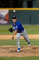 Rancho Cucamonga Quakes relief pitcher Devin Hemmerich (36) during a California League game against the Visalia Rawhide on April 8, 2019 in Visalia, California. Rancho Cucamonga defeated Visalia 4-1. (Zachary Lucy/Four Seam Images)