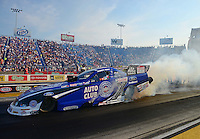 Jun. 30, 2012; Joliet, IL, USA: NHRA funny car driver Robert Hight during qualifying for the Route 66 Nationals at Route 66 Raceway. Mandatory Credit: Mark J. Rebilas-