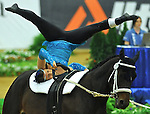 7 October 2010: Krystle Lander (AUS) with Lunger Alison Gieschen competes on Bolerp during Vaulting in the World Equestrian Games in Lexington, Kentucky