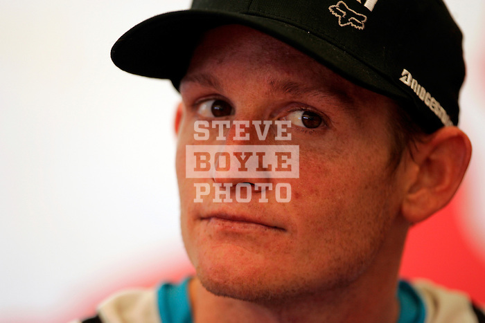 Ricky Carmichael (4) sits through a press conference at the Unadilla Valley Sports Center in New Berlin, New York on July 16, 2006, during the AMA Toyota Motocross Championship.