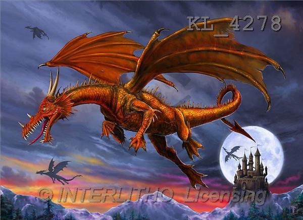 Interlitho, Lorenzo, FANTASY, paintings, dragons, moon, castle, KL, KL4278,#fantasy# illustrations, pinturas