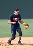 Shortstop AJ Graffanino (16) of the Rome Braves takes grounders batting practice before a game against the Greenville Drive on Wednesday, July 11, 2018, at Fluor Field at the West End in Greenville, South Carolina. He is the Atlanta Braves' 2018 eighth-round draft pick. (Tom Priddy/Four Seam Images)