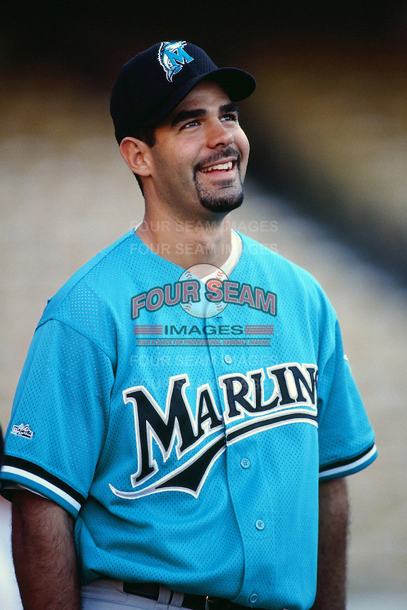 Mike Lowell of the Florida Marlins during a game against the Los Angeles Dodgers at Dodger Stadium circa 1999 in Los Angeles, California. (Larry Goren/Four Seam Images)