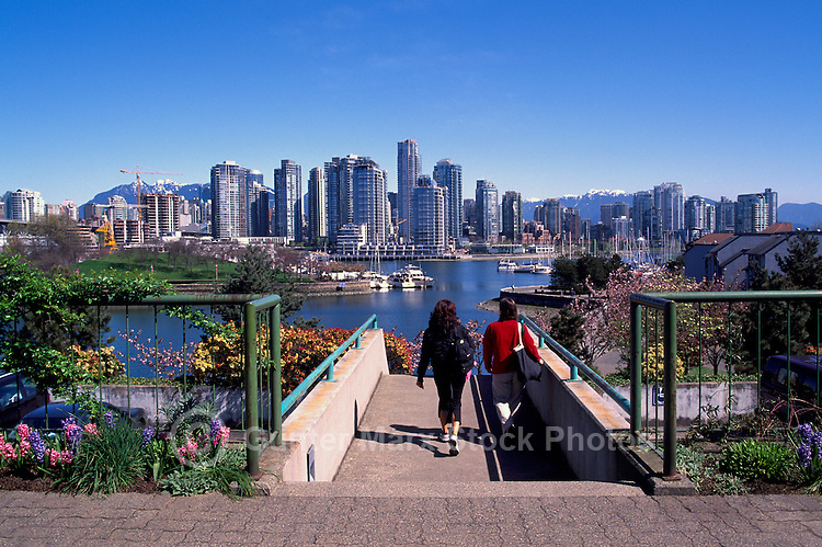 """Vancouver City Skyline, Downtown at Yaletown and """"False Creek"""", BC, British Columbia, Canada, Spring - Granville Island and North Shore Mountains (Coast Mountains)"""
