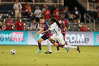 KANSAS CITY, KS - JULY 15: Matthew Hoppe #13 of the United States makes his way towards the goal during a game between Martinique and USMNT at Children's Mercy Park on July 15, 2021 in Kansas City, Kansas.