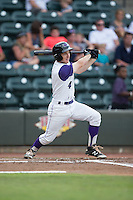 Toby Thomas (4) of the Winston-Salem Dash follows through on his swing against the Potomac Nationals at BB&T Ballpark on July 15, 2016 in Winston-Salem, North Carolina.  The Dash defeated the Nationals 10-4.  (Brian Westerholt/Four Seam Images)